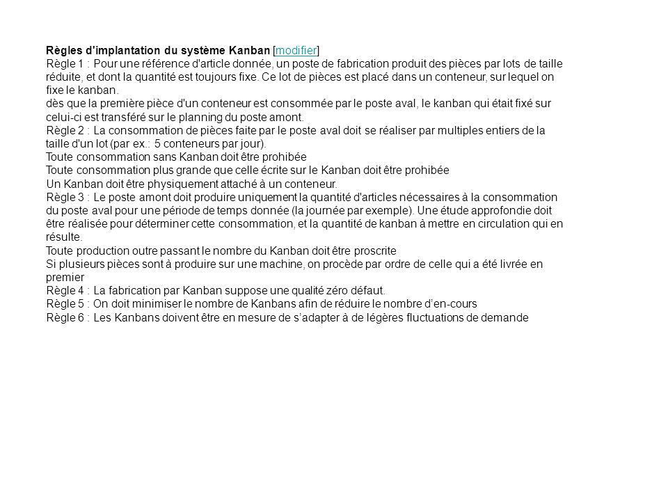 Règles d implantation du système Kanban [modifier]